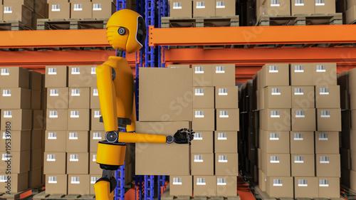 Fotografie, Obraz  a robot warehouse worker (3d rendering)