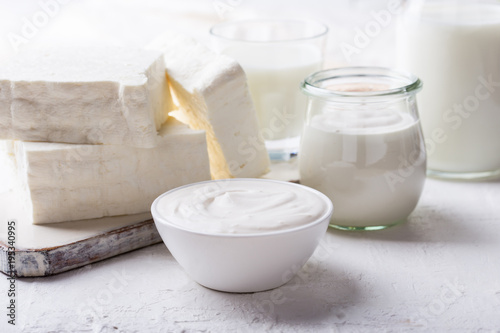 Poster Dairy products Sour cream and fresh cottage cheese, organic dairy products