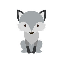 Gray Wolf. Cartoon, Wolf Grey The Nature Of The Character.