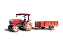 Agricultural Red Tractor With Trailer Isolated On White Background. Clipping Path Included..