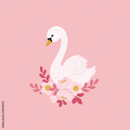 Fototapeta premium Biały łabędź i piękne kwiaty