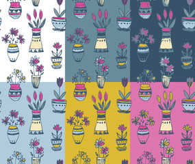 Six seamless patterns with hand drawn floral nature motif and spring elements
