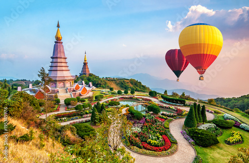 фотографія  Colorful hot-air balloons flying over the doi Inthanon national park with sunset at Chiang mai, Thailand