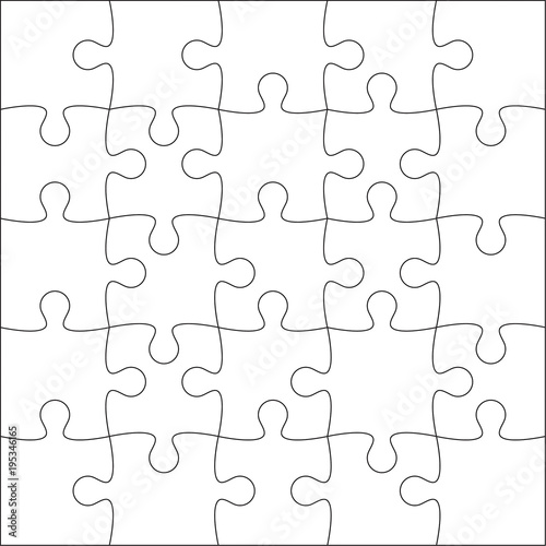 Jigsaw Puzzle Blank Template Or Cutting Guidelines Of 25 Pieces