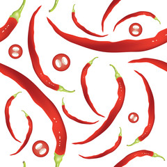Fototapeta Fresh Cayenne peppers seamless pattern. Hot spicy red peppers on white. EPS10 vector illustration.