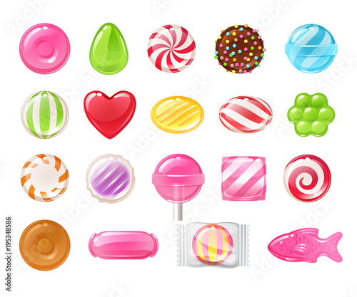 Set of different sweets. Assorted candies. Wall mural