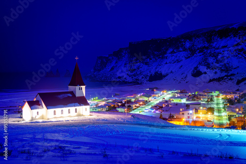 Spoed Foto op Canvas Violet panoramic view of beautiful vik town, iceland
