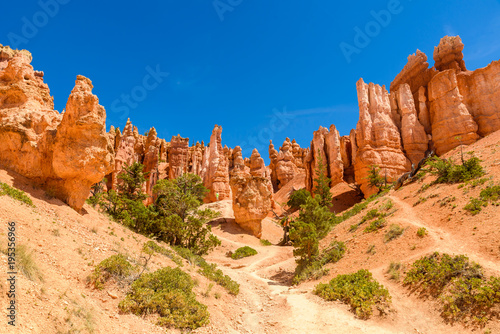 Bryce Canyon National Park - Hiking on the Queens Garden Trail and Najavo Loop into the canyon, Utah, USA Wallpaper Mural