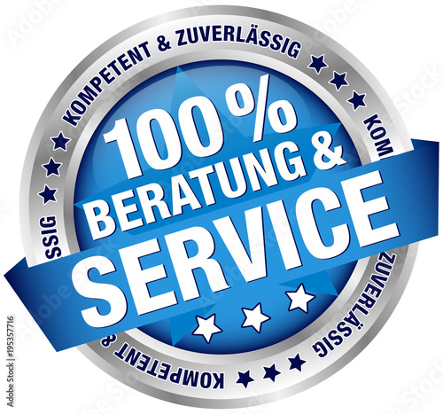 Photo Button Banner 100% Beratung & Service blau/silber