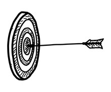 Archery On Target / Cartoon Vector And Illustration, Black And White, Hand Drawn, Sketch Style, Isolated On White Background.