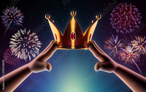 Photo  Hands cartoon are wearing a golden crown on head copy space on a background with fireworks