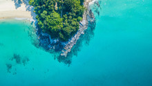 Aerial View Tropical Island With White Sand Beach And Blue Clear Water And Granite Stones At Andaman Sea, View From Above Beautiful Beach Of Andaman Sea, Phuket, Thailand, Asia