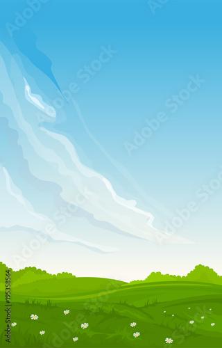 Foto op Canvas Blauw Vertical rural summer landscape