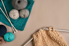 Grey And Turquoise Knitting Wo...