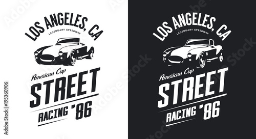 Vintage roadster car black and white isolated vector logo. 