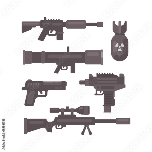 Set of weapon flat icons. Military ammunition collection Canvas Print