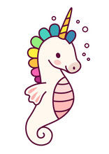Cute Unicorn With Purple Mane Simple Cartoon Vector Illustration. Simple Flat Line Doodle Icon Contemporary Style Design Element Isolated On White. Magical Creatures, Fantasy, Fairy, Dreams Theme.