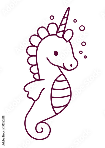 Cute Unicorn Simple Cartoon Coloring Page Vector Illustration