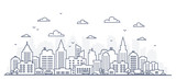 Fototapeta City - Thin line style city panorama. Illustration of urban landscape street with cars, skyline city office buildings, on light background. Outline cityscape. Wide horizontal panorama.