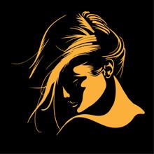 Woman Face Silhouette In Backlight. Low Key.