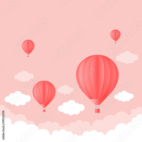 balloon in the sky with clouds pink color. Flat cartoon design.