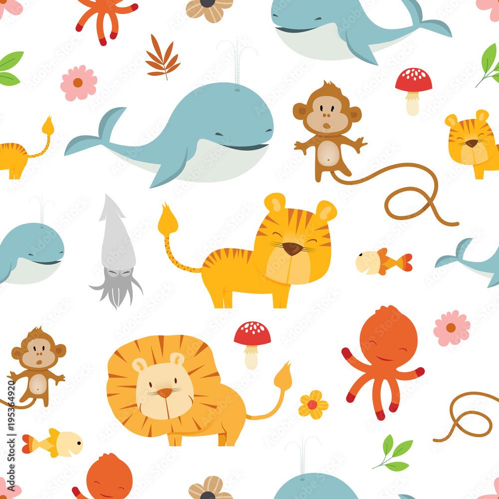 Kreatywne wektor wzór ładny dzikich zwierząt <span>plik: #195364920 | autor: pingebat</span>