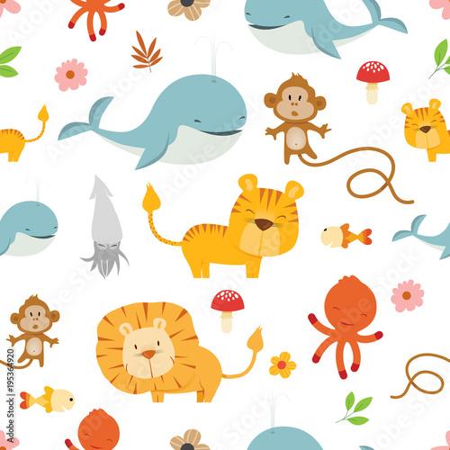 Kreatywne wektor wzór ładny dzikich zwierząt