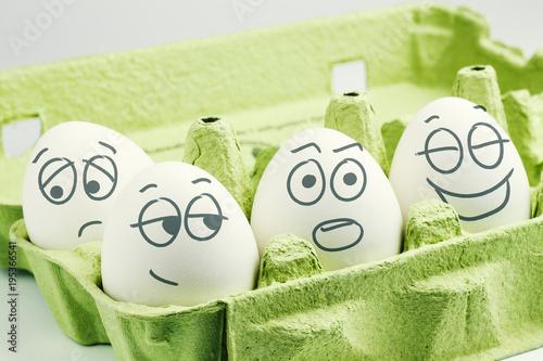 Four eggs in eggbox Wallpaper Mural