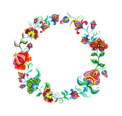 Decorative folk art flowers - floral wreath in slavic motifs. Watercolor