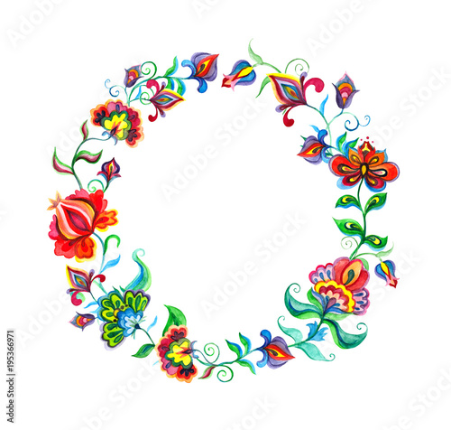 Decorative folk art flowers - floral wreath in slavic motifs Tablou Canvas