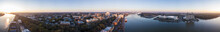360 Degree Panorama Of The Downtown Area Of Savannah, Georgia And River Street.