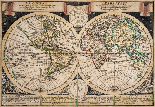 Antique map of the world of the XVIII century, map of 1749