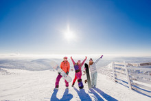 Group Of Young Women With Snowboard Winter Sport. Concept Friendship, SunSet