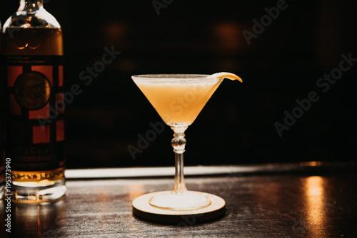 Photo  Yellow martini cocktail