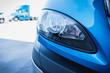 18 wheeler semi truck headlight headlamp in parking lot