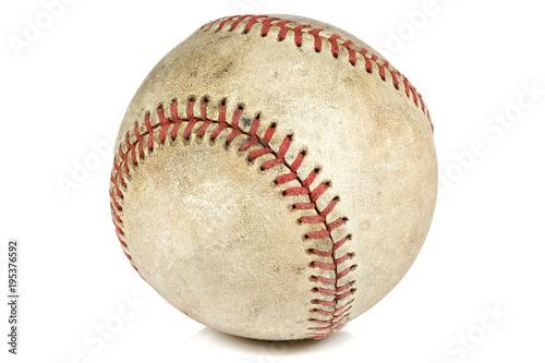 Fototapeta worn baseball isolated on white background obraz
