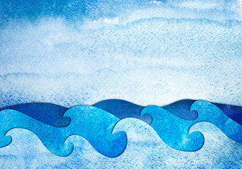 Fototapeta Do pokoju chłopca Abstract hand drawn illustration. Sea applique from watercolor painted paper. Creative background.