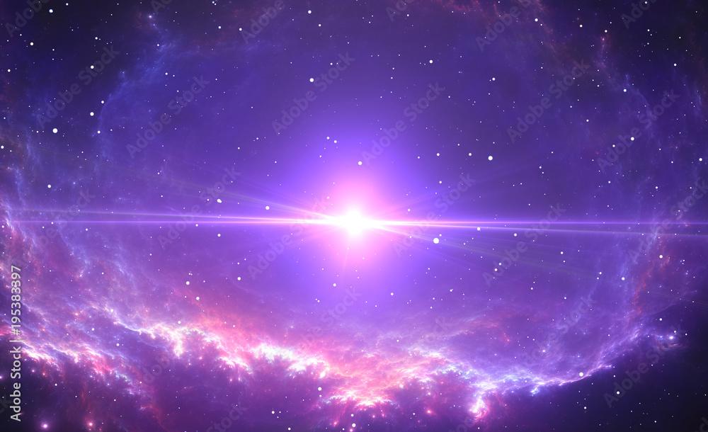Fototapety, obrazy: The bright star, supernova in the center of the nebula