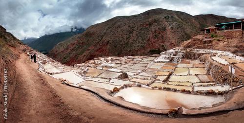 Stickers pour porte Amérique du Sud Salinas de Maras, salt evaporation ponds near the Sacred Valley and Cuzco in southern Peru