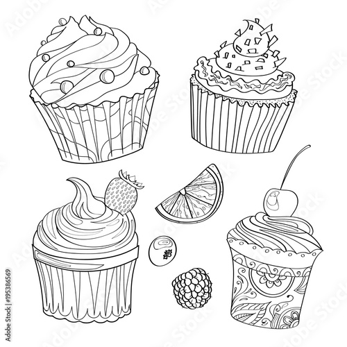 Coloring Page Coloring Page With Cupcakes Desserts Sweets And Berries Stock Vector Adobe Stock