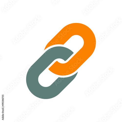 Fotografie, Tablou  Icono plano cadena en gris y naranja