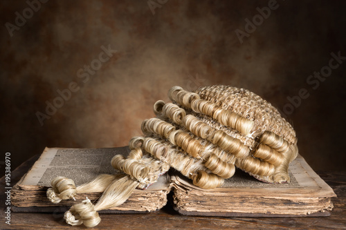 Valokuva Barrister's wig on old book