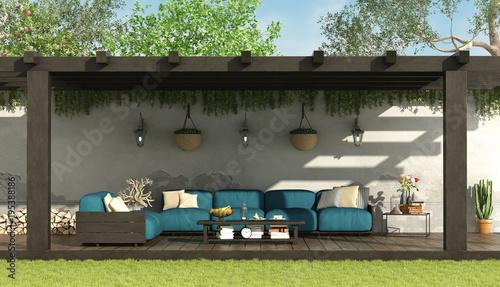 Blue sofa under a wooden pergola Obraz na płótnie