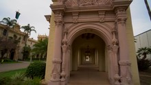Steadicam Push Into A Spanish Baroque Colonnade At San Diego's Balboa Park In California.