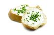 canvas print picture Baguette mit Frischkäse isoliert freigestellt auf weißen Hintergrund, Freisteller