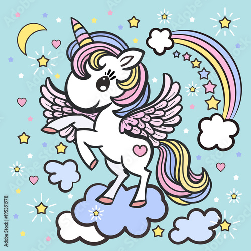 A small, cute cartoon unicorn. Illustration for your design