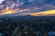 Dramatic blue and orange winter sunset over the mystical Cappadocia, Turkey