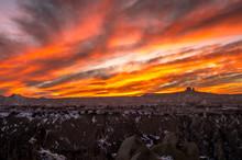 Intense Red Sunset Over The Rocky Cappadocia, Turkey