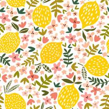 Vector Flower And Lemon Seamle...