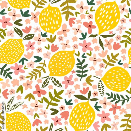 Tapety do kuchni wektorowy-kwiatu-i-cytryny-bezszwowy-wzor